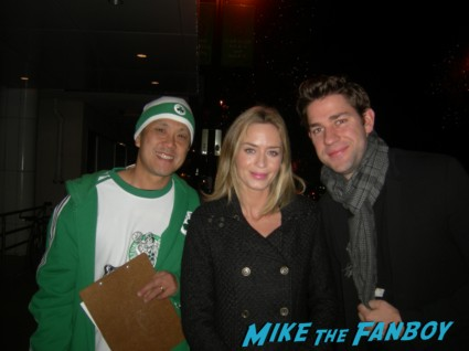 emily Blunt with John Krasinksi posing for a fan photo signed autograph rare promo hot adjustment bureau the office promised land