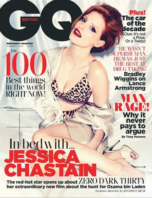 Jessica Chastain hot sexy British GQ Magazine naked photo shoot zero dark thirty rare promo the help tree of life