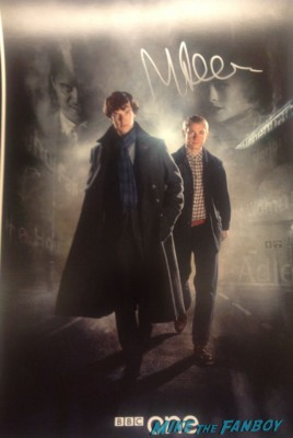 martin freeman signed autograph sherlock mini poster promo BBC rare the hobbit after party in new york city