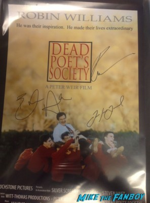 ethan hawke robin williams robert sean leonard signed autograph dead poet's society one sheet movie poster rare