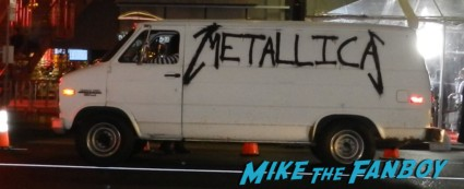 a white van with metallica spray painted on the side driving around hollywood this is 40 world movie premiere fans making signs for megan fox debacle main sign rare promo leslie mann paul rudd judd apatow movie premiere red carpet