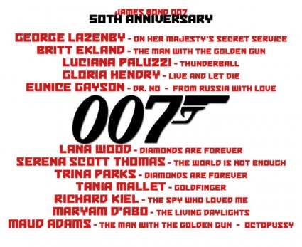 007 James Bond Reunion at the Hollywood show autograph show rare promo 007 james bond villians