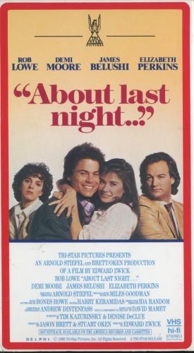 about last night... promo VHS cover rare rob loew demi moore elizabeth perkins rare