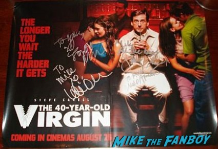 40 year old virgin uk quad mini movie poster signed by steve carell jonah hill leslie mann rare promo hot sexy photo