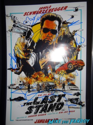 The Last stand signed autograph mini movie poster Arnold Schwarzenegger  jaimie alexander peter stormare johnny knoxville