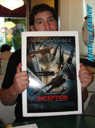 mike the fanboy at the  inception movie poster  at te  inception movie premiere with tom hardy leonardo dicaprio ellen page joseph gordon levitt rare promo red carpet promo