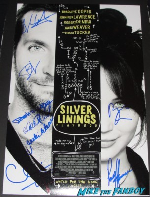silver linings playbook cast signed movie poster autograph bradley cooper robert de niro jacki weaver chris tucker david o'russell rare promo