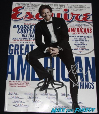 bradley cooper signed autograph esquire magazine cover rare promo hot sexy silver linings playbook star