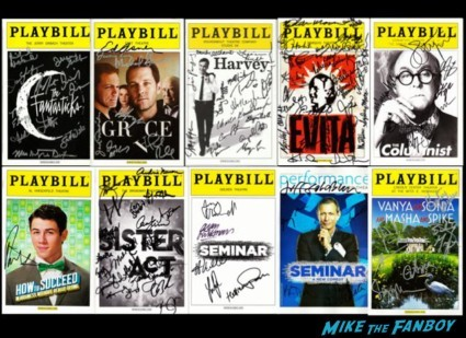 signed playbill collection grace jeff goldblum ed asner paul rudd ricky martin evita rare hot
