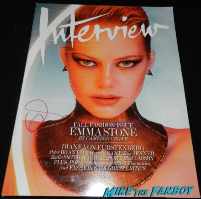 emma stone signed autograph interview magazine cover rare promo sexy emma stone signing autographs at the Gangster Squad Movie Premiere red carpet marquee with sean penn ryan gosling emma stone josh brolin