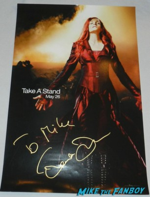 Famke Janssen signed autograph x-men jean grey mini movie poster promo signing autographs at the Hansel & Gretel: Witch Hunters World Movie Premiere getting dissed by Jeremy Renner and Gemma Arterton rare