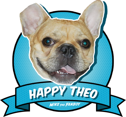 cute adorable french bulldog named Theo badge the happy theo badge rare promo brown hair french bulldog