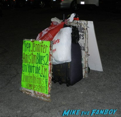 jennifer aniston made me homeless signs from crazy guy in hollywood no doubt signing autographs at jimmy kimmel live 003