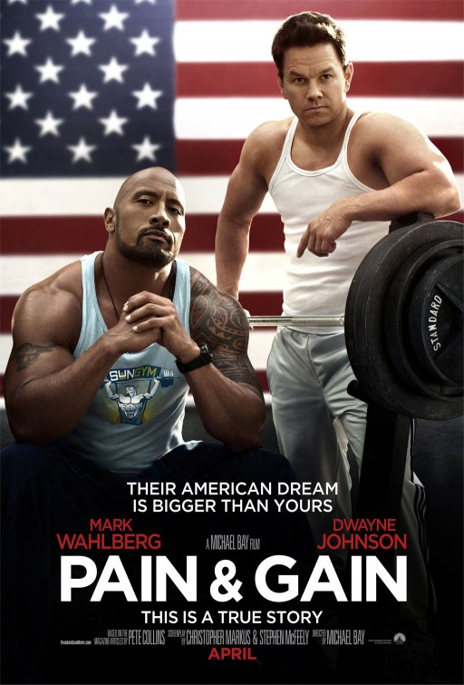 Pain & Gain movie poster one sheet marky mark wahlberg shirtless hot sex muscle bicep flex tank top rare dwayne johnson the rock