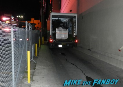 a truck blocking the alley as we are trying to meet about last night star.. rob lowe hot