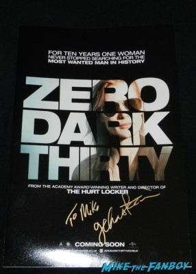 jessica chastain signed autograph zero dark thirty rare promo mini movie poster promo signature rare