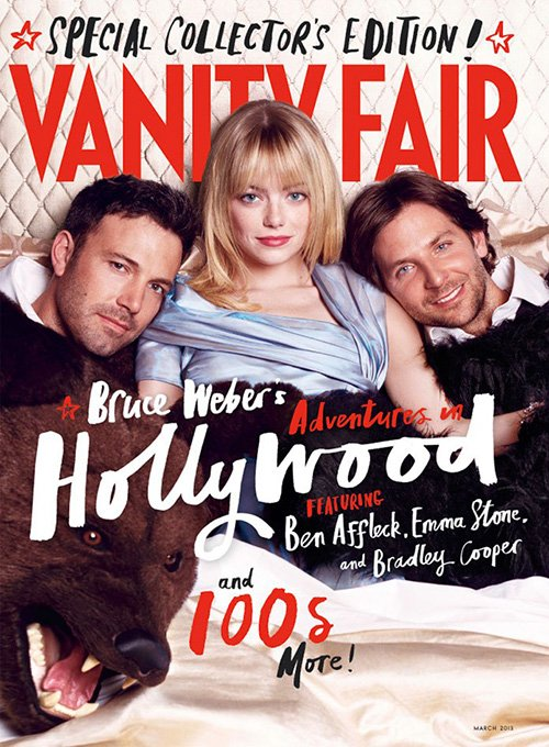 emma stone bradley cooper ben affleck vanity fair march 2013 magazine cover rare bruce weber hollywood issue rare promo photo shoot hot sexy