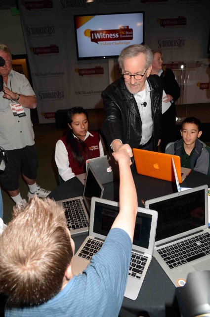 steven spielberg signs autographs for fans and talks to students at the USC Shoah Foundation's Witness Video Challenge