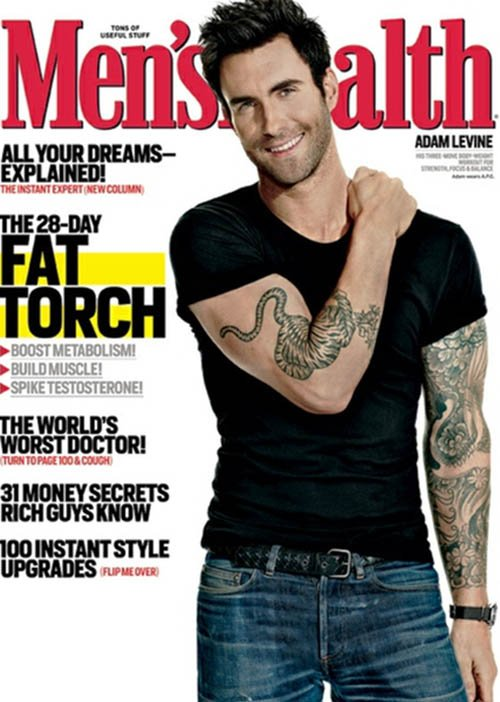 Adam Levine men's health march 2013 magazine cover hot sexy lead singer rare promo photo shoot sexy workout routine rare promo