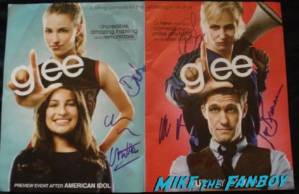 glee cast signed autograph promo mini poster corey monteith chris colfer jane lynch rare