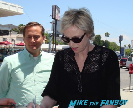 Jane Lynch signing autographs for fans rare promo glee role models star hot sexy lesbian