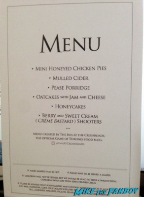 the menu from the game of thrones fan event in new york city rare