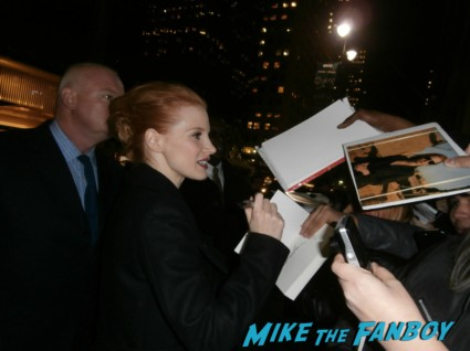 sexy jessica chastain signing autographs for fans at the National Board of Review Awards in new york city celebrities signing autographs for fans rare promo photo rare