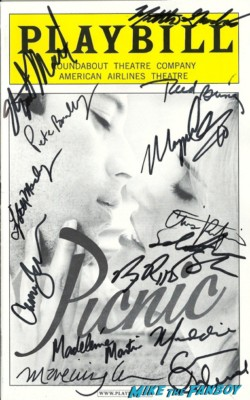 Picnic playbill broadway signed autograph cast signed maggie grace rare promo
