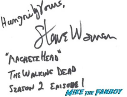 Steve Warren  signed autograph the walking dead promo photo hot rare walking walking dead season 3 rare promo
