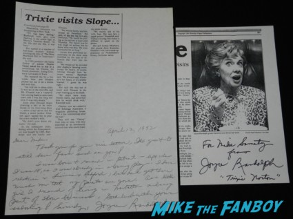 joyce randolph signed autograph the honeymooners rare promo newspaper article signed photo rare promo