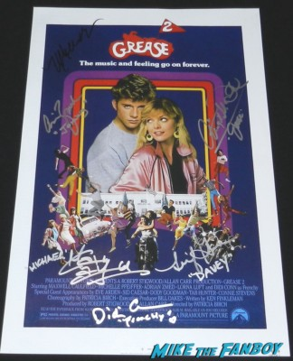 grease 2 signed autograph promo movie poster didi conn maxwell caulfield adrian zmed john travolta didi conn signed autograph grease original screening program signing autographs for fans grease frenchy now 2013 005