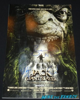 jack the giant slayer signed autograph mini movie poster bill nighy ewan bremner Eddie Marsan signing autographs for fans rare promo hot sexy rare jack the giant slayer movie premiere nicholas holt hot ewan brem 013