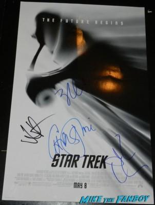 star trek mini movie poster signed autograph chris pine zachary quinto john cho jj abrams rare