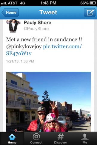 pauly shore's twitter tweet about meeting pinky from mike the fanboy at the sundance film festival 2013