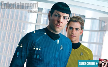 chris pine hot sexy zachary quinto star trek into darkness promo movie still rare james t kirk rare entertainment weekly