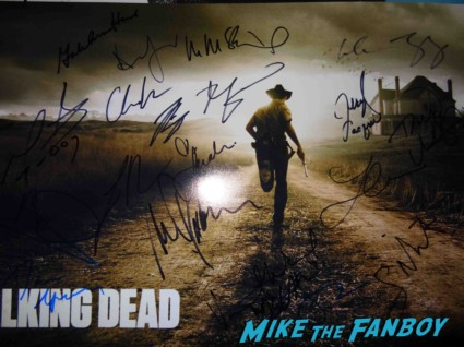 the walking dead signed autograph cast photo rare promo season 2 Steven Yeun signing autographs for fans at an evening with the walking dead at the television academy signed autograph rare