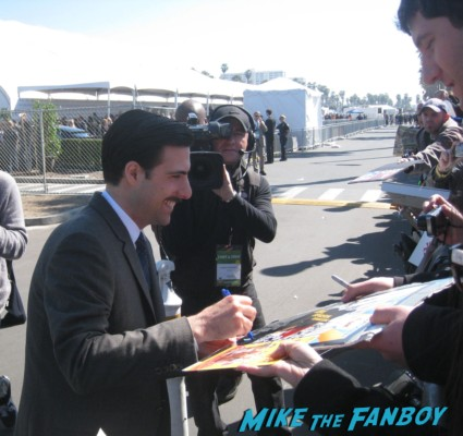 Jason Schwartzman signing autographs for fans at the spirit awards 2013 rare rushmore signed autograph rare promo