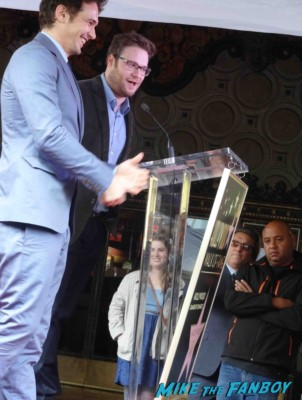 seth rogan giving his speech at  James Franco walk of fame star ceremony in hollywood signing autographs for fans rare promo