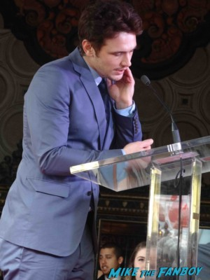 james franco  giving his speech at  James Franco walk of fame star ceremony in hollywood signing autographs for fans rare promo