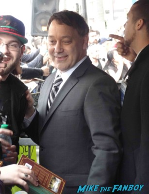 sam raimi signing autographs  at  James Franco walk of fame star ceremony in hollywood signing autographs for fans rare promo