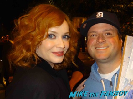 sexy christina hendricks fan photo mad men season 6 premiere after party signing autographs for fans