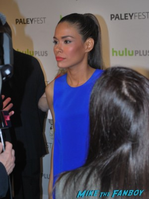 revolution red carpet with jj abrams jon favreau and more Daniella Alonso signing autographs for fans  at the revolution paleyfest 2013 panel