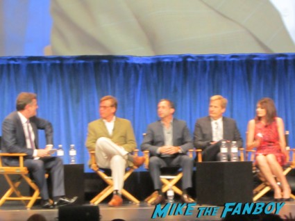 Dev Patel, Olivia Munn, Thomas Sadoski, Alison Pill, John Gallagher Jr., Sam Waterston, Emily Mortimer, Jeff Daniels (who does a curtsey), Alan Poul and Aaron Sorkin the newsroom 2013 paleyfest panel q and a rare