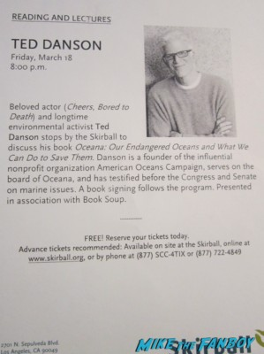 Ted Danson oceana book signing lacma lecture rare promo