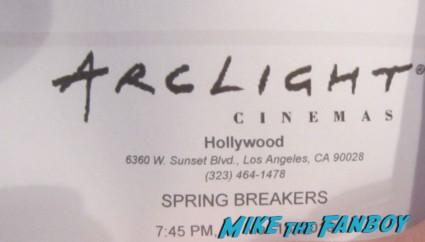 arclight cinemas movie ticket stub rare spring breakers promo hot