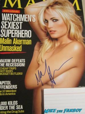 Malin Akerman signed autograph maxim magazine cover rare nude cover promo photo hot rare signing autographs