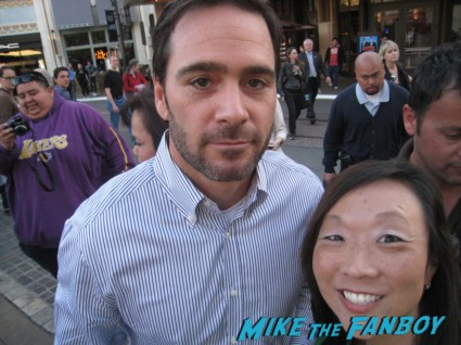 Jimmie Johnson fan photo signing autographs for fans rare signed autograph photo rare taping an episode of extra a the grove in los angeles