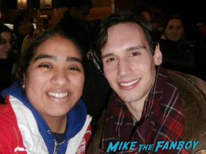 Cory Michael Smith signing autographs for fans broadyway breakfast at tiffany's on broadway emilia clarke signing autographs for fans new york rare broadway game of thrones breakfast at tiffany's broadway marquee sign rare emilia clarke broadway poster promo