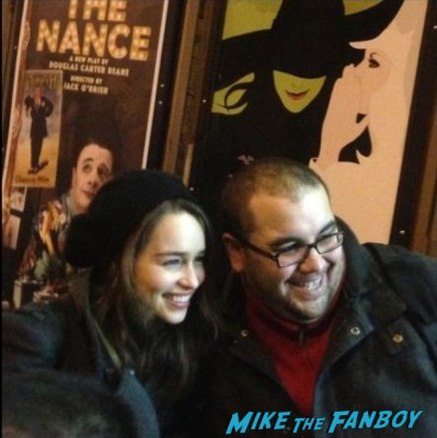 emilia clarke signing autographs for fans new york rare broadway game of thrones breakfast at tiffany's broadway marquee sign rare emilia clarke broadway poster promo