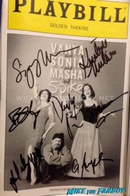 Vanya and Sonia and Masha and Spike signed autograph playbill Sigourney Weaver fan photo signing autographs for fans in new york after Vanya and Sonia and Masha and Spike